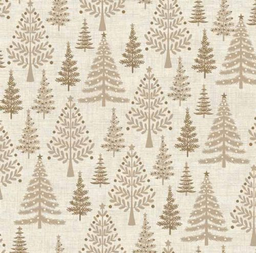 Makower - Scandi, Christmas Trees - Beige Christmas Quilting Fabric